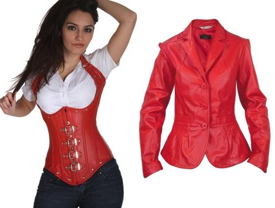 red leather apparels
