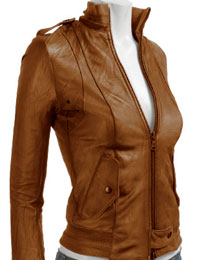Bronze Women Leather Bomber from leathericon.com