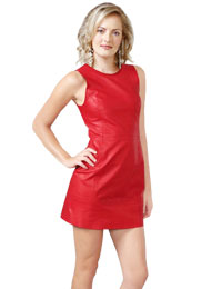 Cute Short Dresses | Red Leather Dress Onilne :  mini dresses cute red dress short leather dress sleeveless dress
