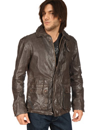 Crushed Flap Pocket Leather Jacket from leathericon.com