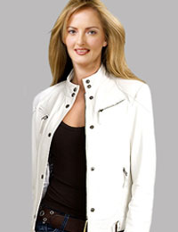 White Leather Jacket for New Year Party