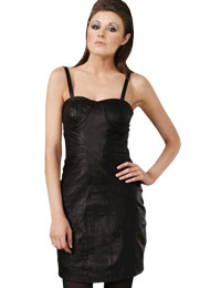 Hot One Piece Strappy Leather Dress | Womens Day Leather Dress :  leather outfits womens leather dress hot leather dress leather dress for womens day