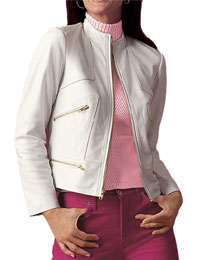 White Leather Jacket for Women from leathericon.com