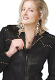 Studded full sleeve motorcycle leather jacket