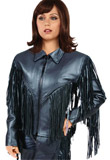 Attractive Fringe Leather Jacket with Snap Down Collar