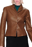 Waist Length Leather Blazer | Maple Regular Leather Blazer