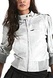 Band Collar Mini Women Leather Bomber