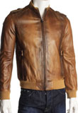 Dramatic Dual Shaded Leather Bomber for Men