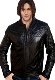 Splendid Leather Bomber Jacket with Buttons