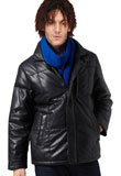 Buy Online Padded Black Christmas Leather Jacket for Men