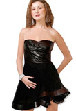 Strapless Leather With Fabric Dress for Womens
