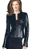 Womens Collarless Leather Jacket | Independence Day Special