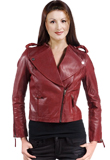 Zipper Sleeves  Funnel Collared Leather Jacket