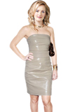 Exquisite Strapless Leather Sheath Dress