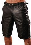 Super Hot Leather Cargo Shots | Mens Leather Short