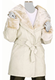 Fashionable Fur Leather Coat | Soft Winter Leather Dresses