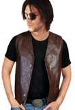 Excellent Four Button Leather Vest | Mens Leather Vests for New Year