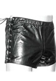 Snazzy Side Tie up Leather Shorts