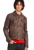Spring Leather Jacket with Flap Buttoned Pockets
