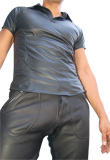 Stylishly Created Leather T-shirt for Youth Day