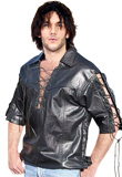 Trendy Tie up Patterned Leather Shirt Specially for Youth Day 2010