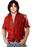 Stylish Button Closure Leather Shirt | Youth Day 2010 Collection