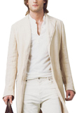 Off White Lamb Leather Mens Coat