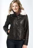Fur Collar Premium Leather Jacket for Women