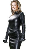 Fashionable High Collar Leather Top for Women