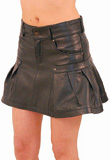 Wide Pleated Leather Mini Skirt