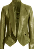 Women Green Leather Blazer for St Patricks Day