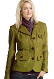Splendid Notch Collared Leather Jacket | Green Leather Jacket