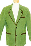 Pista Green Suede Leather Coat With Lining