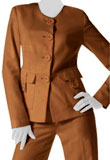 Designer Leather Blazer With Straight Cut Pants