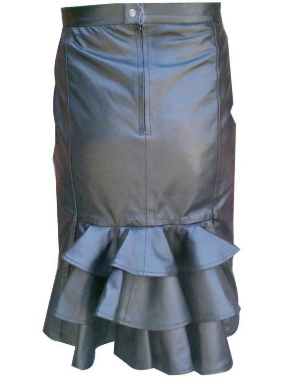 ruffled hem leather skirt womens leather skirt