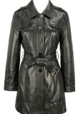 New Year Leather Trench Coat for Womens