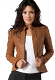 Open Front Stylish Leather Jacket