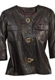 U Neckline Spring Leather Jacket   Spring Wear