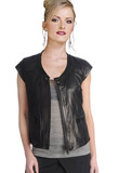 Cap Sleeved Leather Jacket | Fashion Clothing