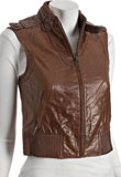 Extraordinary Sleeveless Zipper Leather Jacket for Women