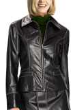 Cheap Front Zipper Womens Leather Blazer