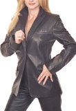 Buy Online Hip Length Leather Blazer 