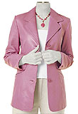 Three 3 Button Pink Leather Blazer | Hip Length Leather Blazer