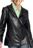 Black Hip Length Leather Blazer 