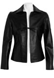 Black Tie Front Leather Bomber | Waist Length Long Sleeve Leather
