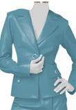 Superb Soft Lamb Leather Blazer with Front Slit Skirt