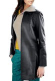 Womens Leather Car Coat