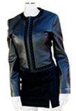 Stand Collar Leather Jacket And Straight Cut Skirt