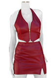 Designer Halter Leather Vest and Side Cut Skirt